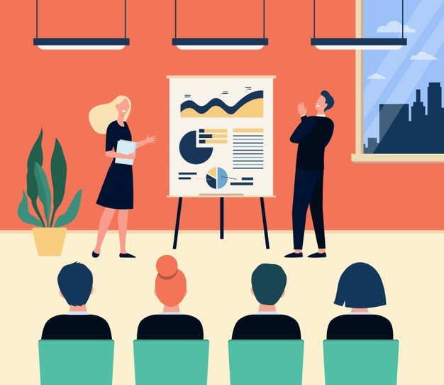 happy company coaches employees meeting conference room speaker presenting diagram flipchart performing with lecture vector illustration business training presentation concept 74855 13098 - Маркетинг и материалы для маркетинга