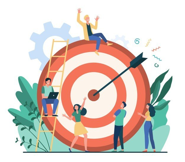 positive tiny people sitting walking near huge target with arrow isolated flat vector illustration cartoon business team achieving goal aim marketing strategy achievement concept 74855 10139 - Интернет-маркетинг в Астане
