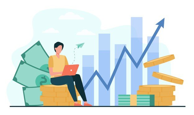 investor with laptop monitoring growth dividends trader sitting stack money investing capital analyzing profit graphs vector illustration finance stock trading investment 74855 8432 - Маркетинг, который ставить цели