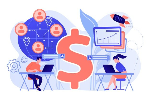 salespeople team working remotely with customers all world dollar sign virtual sales remote sales method virtual sales team concept illustration 335657 2348 - Маркетинг, который ставить цели